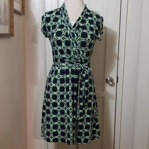 LIZ CLAIBORNE black green faux wrap dress